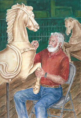 Painting - The Carver And His Horse by Barbel Amos