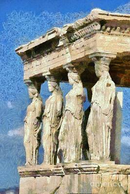 Painting - The Caryatids Porch by George Atsametakis
