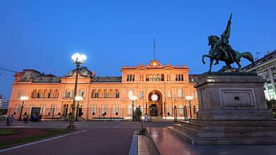 The Casa Rosada After The Sunset. Plaza De Mayo, Buenos Aires, Argentina.  Art Print