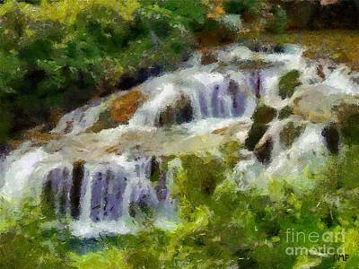 Spring Painting - The Cascades Of Plitvice by Dragica  Micki Fortuna