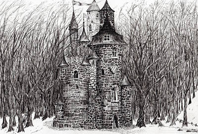 Architecture Drawing - The Castle In The Forest Of Findhorn by Vincent Alexander Booth
