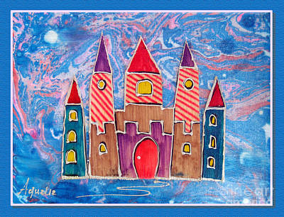 Youthful Mixed Media - The Castle Is Festive by Aqualia