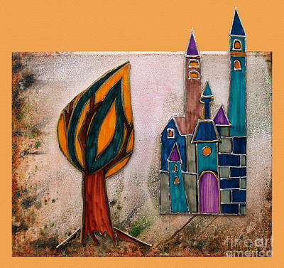 The Trees Mixed Media - The Castle Matures by Aqualia