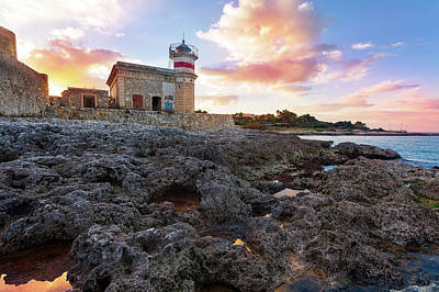 Photograph - The Castle Of Brucoli And Little Lighthouse, Syracuse, Sicily, I by Alfio Finocchiaro