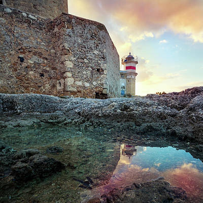 Photograph - The Castle Of Brucoli And The Little Lighthouse Reflected In A P by Alfio Finocchiaro