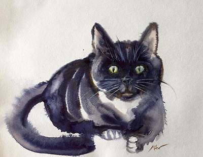 Animals Paintings - The cat 8 by Katerina Kovatcheva