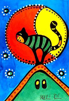 Painting - The Cat And The Moon - Cat Art By Dora Hathazi Mendes by Dora Hathazi Mendes
