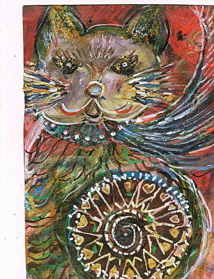 The Cat And The Wheel Art Print by Anne-Elizabeth Whiteway