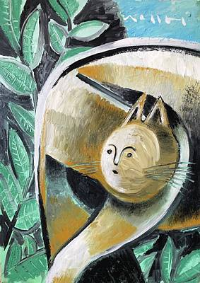 Cubism Wall Art - Painting - The Cat At The Pier  by Mark M Mellon