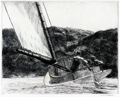 Drawing - The Cat Boat by Edward Hopper