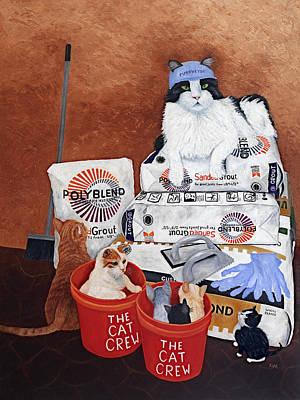 Art Print featuring the painting The Cat Crew by Karen Zuk Rosenblatt