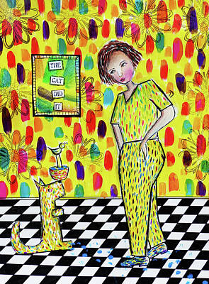 Joke Mixed Media - The Cat Did It by Lynn Colwell
