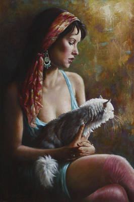 Cat Woman Painting - The Cat by Harvie Brown