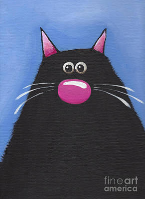 Fat Cat Wall Art - Painting - The Cat In Blue by Lucia Stewart