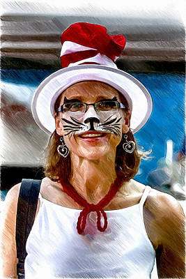 Digital Art - The Cat In The Hat Woman by John Haldane