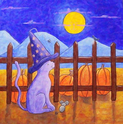 Painting - The Cat In The Moon by Kenny Francis