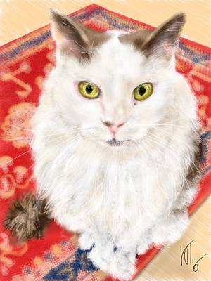 Persian Carpet Digital Art - The Cat On A Persian Carpet  by Lois Ivancin Tavaf