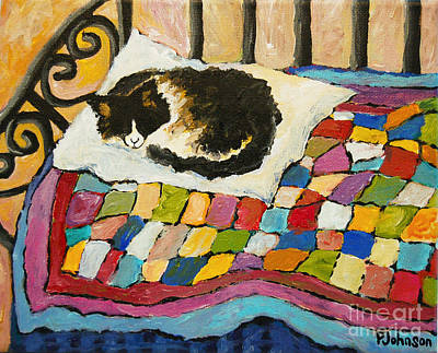Bed Quilts Painting - The Cat by Peggy Johnson