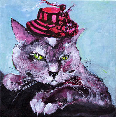 Painting - The Cat Which Loves To Wear A Hat by Larissa Pirogovski