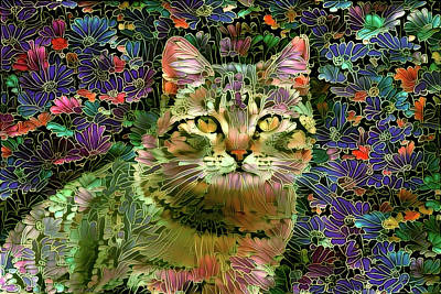 Digital Art - The Cat Who Loved Flowers 1 by Peggy Collins