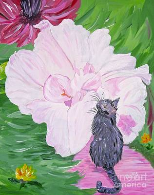 Painting - The Cat Who Loves Peonies by Phyllis Kaltenbach