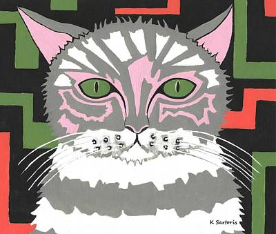 Painting - The Cat With Green Eyes by Kathleen Sartoris