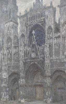 Church Art Painting - The Cathedral In Rouen The Portal Grey Weather by Claude Monet