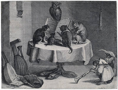 Drawing - The Cat's Concert by Coryn Boel after David Teniers the Younger