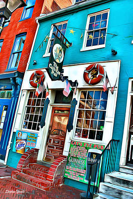 Fells Point Baltimore Maryland Digital Art - The Cat's Eye Pub by Stephen Younts