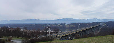 Photograph - The Catskill Mountains Escarpment Behind The Rip Van Winkle Bridge by Terrance DePietro