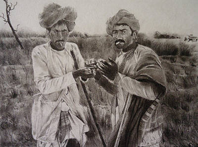 Drawing - The Cattle Rearers by Mickey Raina