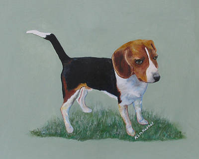 Painting - The Cautious Beagle by KLM Kathel