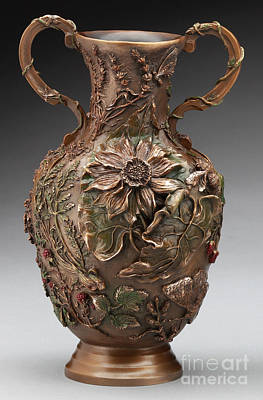Sculpture - The Cedar Ridge - Bronze Vase - Balsamroot Side by Dawn Senior-Trask