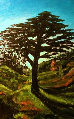 Painting - The Cedar Tree Against The Blue by Ray Khalife