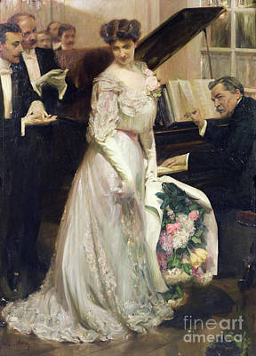 Evening Dress Painting - The Celebrated by Joseph Marius Avy