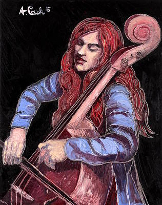 Wall Art - Painting - The Cellist by Adam B Cook