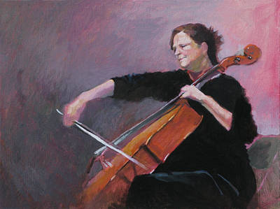 Cellist Painting - The Cellist by Robert Bissett