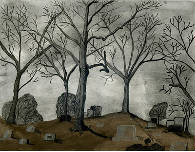 Cemetary Drawing - The Cemetary by MJ Sadler