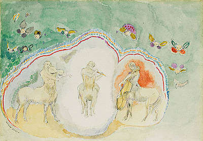 Centaur Drawing - The Centaurs. Musicians by Odilon Redon