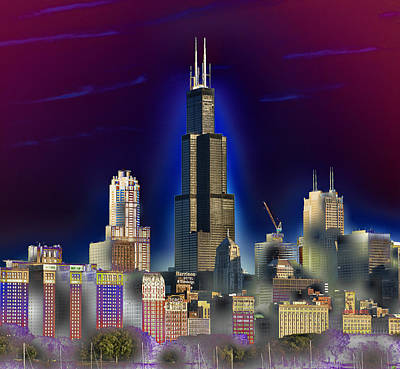 Willis Tower Digital Art - The Center Of Attention 3 by Donald Schwartz