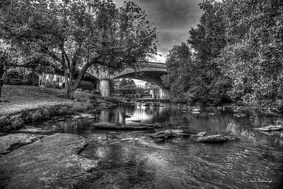 Photograph - The Center Of Town B W Reedy River Falls Park Greenville South Carolina Art by Reid Callaway