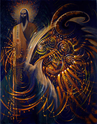 Goat Mixed Media - The Cernunnos Of Metatron by Stephen Lucas
