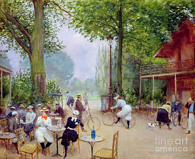 Outdoor Cafe Painting - The Chalet Du Cycle In The Bois De Boulogne by Jean Beraud