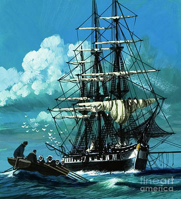 Of Pirate Ship Painting - The Challenger Expedition Of The 1870s by Wilf Hardy