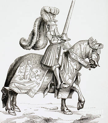 Pen And Ink Drawing Drawing - The Champion Of The Tournament by French School