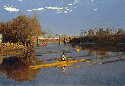 The Champion Single Sculls. Max Schmitt In A Single Scull Art Print by Thomas Eakins