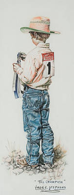 Rodeo Art Drawing - The Champion by Virgil Stephens