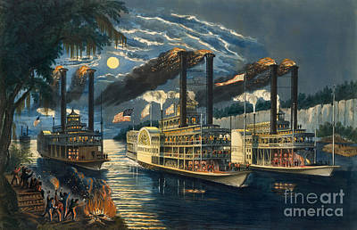 Speed Boat Painting - The Champions Of The Mississippi  by Currier and Ives