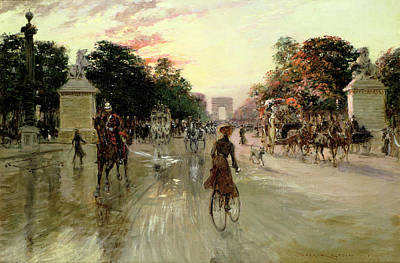 Raining Painting - The Champs Elysees - Paris by Georges Stein