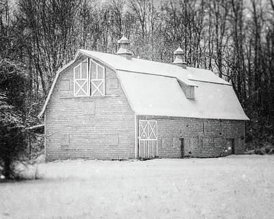 Photograph - The Charlton Barn In The Snow In Black And White by Lisa Russo